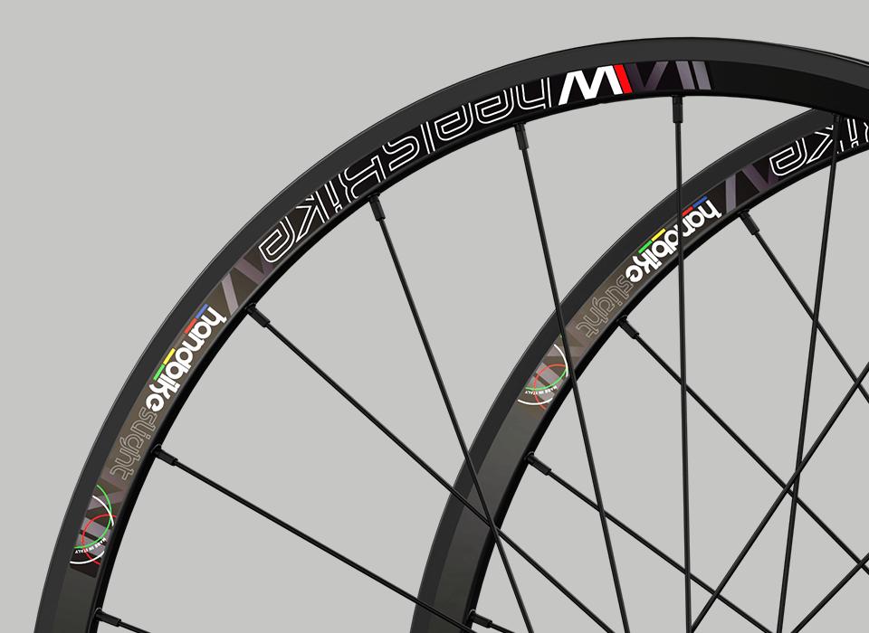 set ruote alluminio handbike wheelsbike slight nero particolare cerchio
