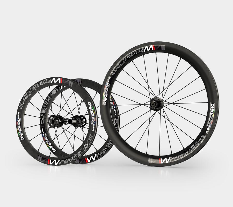 set ruote carbonio handbike wheelsbike slight nero20 e 26